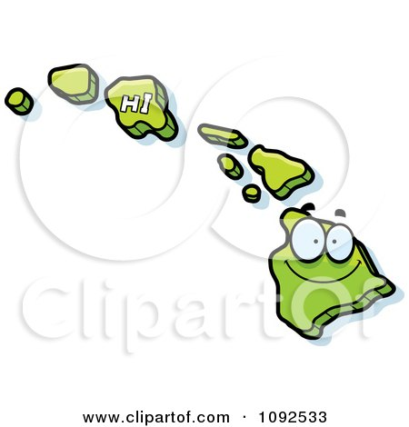 Clipart Happy Green Hawaii State Character - Royalty Free Vector Illustration by Cory Thoman