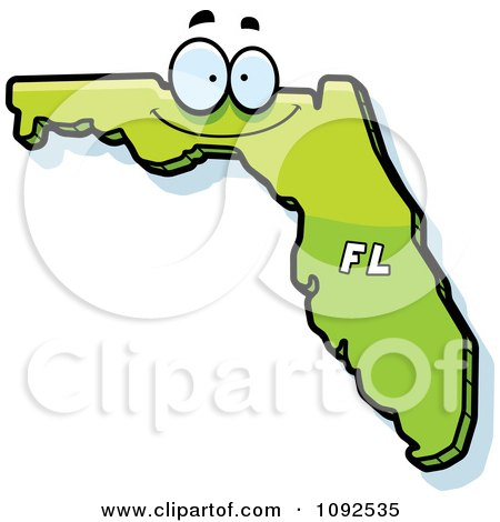 Clipart Happy Green Florida State Character - Royalty Free Vector Illustration by Cory Thoman