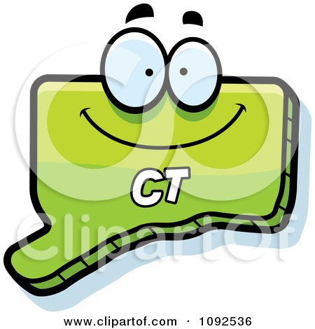 Clipart Happy Green Connecticut State Character - Royalty Free Vector Illustration by Cory Thoman