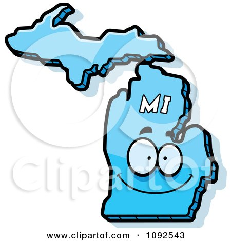 Clipart Happy Blue Michigan State Character - Royalty Free Vector Illustration by Cory Thoman