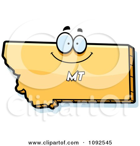 Clipart Happy Yellow Montana State Character - Royalty Free Vector Illustration by Cory Thoman