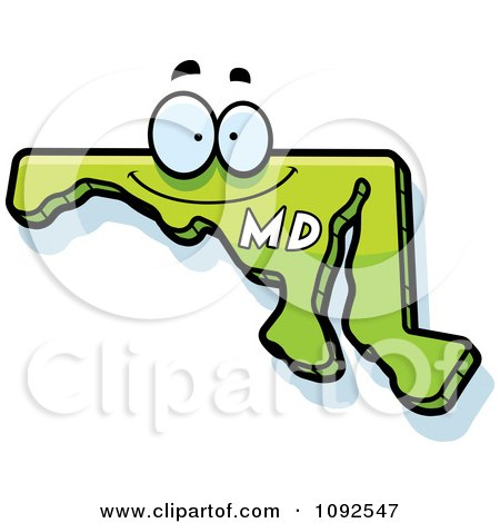 Clipart Happy Green Maryland State Character - Royalty Free Vector Illustration by Cory Thoman
