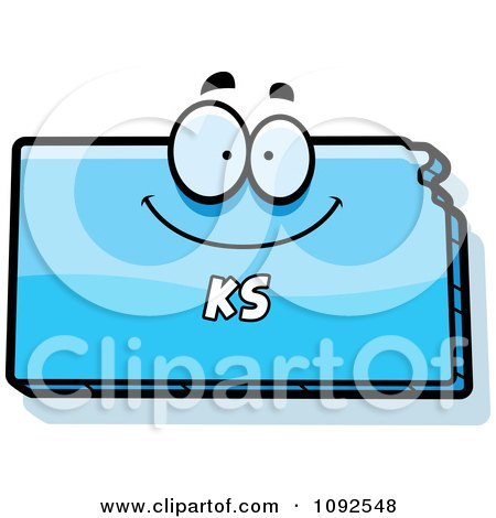 Clipart Happy Blue Kansas State Character - Royalty Free Vector Illustration by Cory Thoman