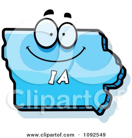 Clipart Happy Blue Iowa State Character - Royalty Free Vector Illustration by Cory Thoman
