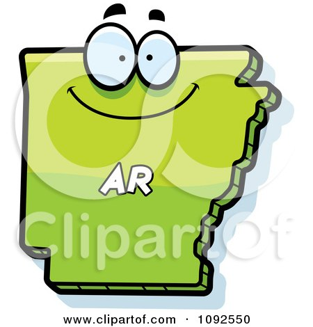 Clipart Happy Green Arkansas State Character - Royalty Free Vector Illustration by Cory Thoman
