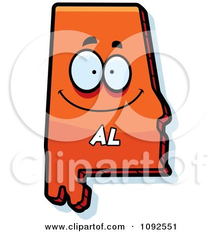 Clipart Happy Orange Alabama State Character - Royalty Free Vector Illustration by Cory Thoman