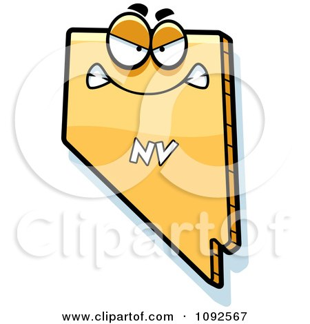 Clipart Mad Yellow Nevada State Character - Royalty Free Vector Illustration by Cory Thoman