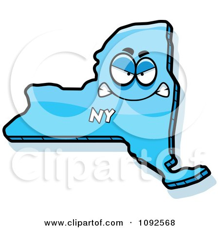 Clipart Mad Blue New York State Character - Royalty Free Vector Illustration by Cory Thoman
