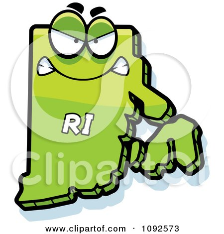 Clipart Mad Green Rhode Island State Character - Royalty Free Vector Illustration by Cory Thoman