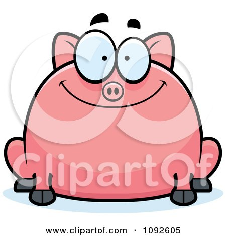 Clipart Chubby Smiling Pig - Royalty Free Vector Illustration by Cory Thoman