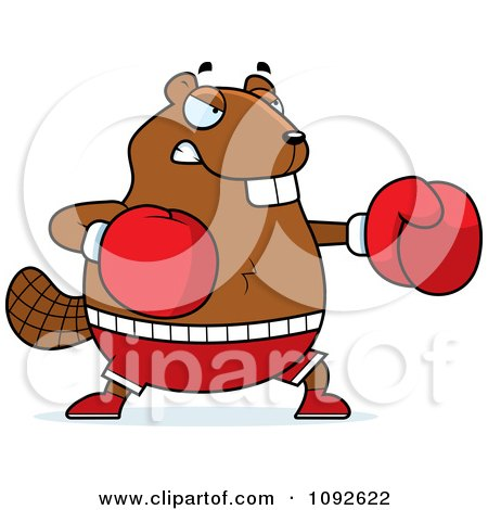 Clipart Chubby Beaver Boxing - Royalty Free Vector Illustration by Cory Thoman