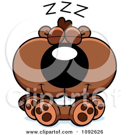 Clipart Cute Beaver Sleeping - Royalty Free Vector Illustration by Cory Thoman