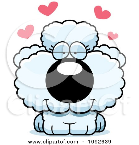 cute white poodle puppy in love posters  art prints by school of fish clip art free Fish Outline Clip Art
