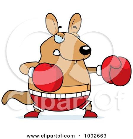 Clipart Chubby Kangaroo Boxing - Royalty Free Vector Illustration by Cory Thoman