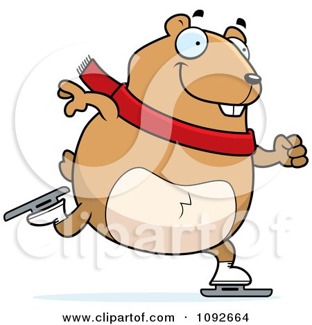 Clipart Chubby Hamster Ice Skating - Royalty Free Vector Illustration by Cory Thoman
