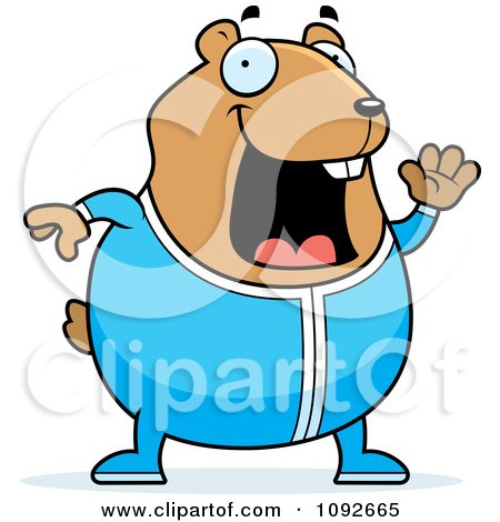 Clipart Chubby Hamster Waving In Pajamas - Royalty Free Vector Illustration by Cory Thoman