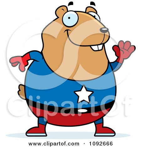 Clipart Chubby Super Hamster Waving - Royalty Free Vector Illustration by Cory Thoman