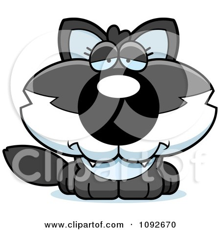 Clipart Depressed Baby Wolf - Royalty Free Vector Illustration by Cory Thoman