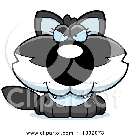 Clipart Sly Baby Wolf - Royalty Free Vector Illustration by Cory Thoman
