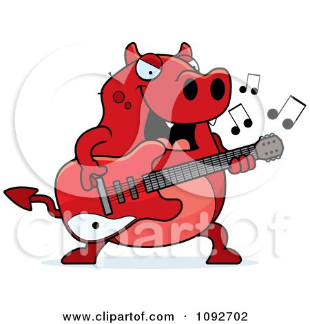 Clipart Chubby Devil Playing A Guitar - Royalty Free Vector Illustration by Cory Thoman