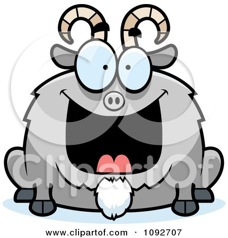 Clipart Chubby Grinning Goat - Royalty Free Vector Illustration by Cory Thoman