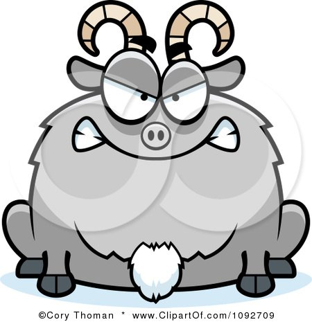 Clipart Chubby Mad Goat - Royalty Free Vector Illustration by Cory Thoman