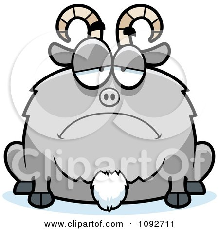 Clipart Chubby Sad Goat - Royalty Free Vector Illustration by Cory Thoman