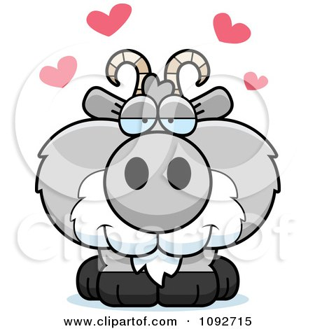 Clipart Cute Gray Goat In Love - Royalty Free Vector Illustration by Cory Thoman