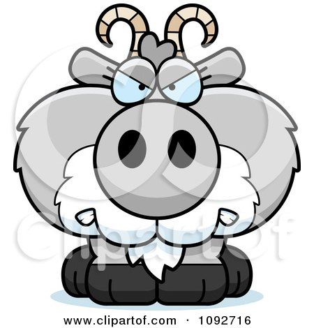 Clipart Mad Gray Goat - Royalty Free Vector Illustration by Cory Thoman