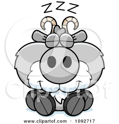 Clipart Cute Gray Goat Sleeping - Royalty Free Vector Illustration by Cory Thoman