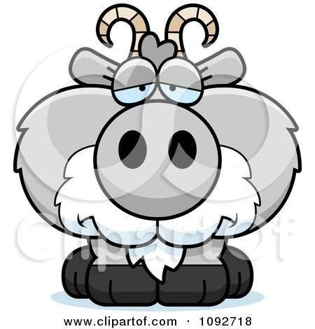 Clipart Depressed Gray Goat - Royalty Free Vector Illustration by Cory Thoman
