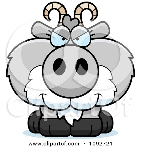 Clipart Sly Gray Goat - Royalty Free Vector Illustration by Cory Thoman