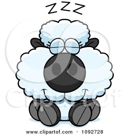 Clipart Cute Baby Sheep Sleeping - Royalty Free Vector Illustration by Cory Thoman