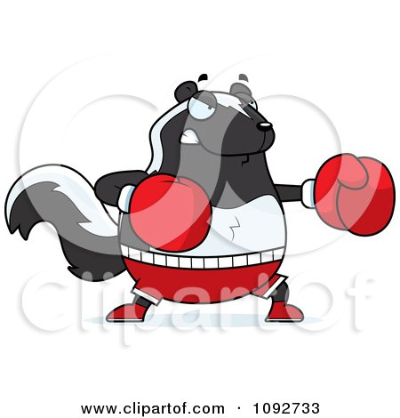 Clipart Chubby Skunk Boxer - Royalty Free Vector Illustration by Cory Thoman