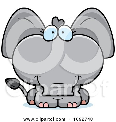 Clipart Cute Baby Elephant - Royalty Free Vector Illustration by Cory Thoman
