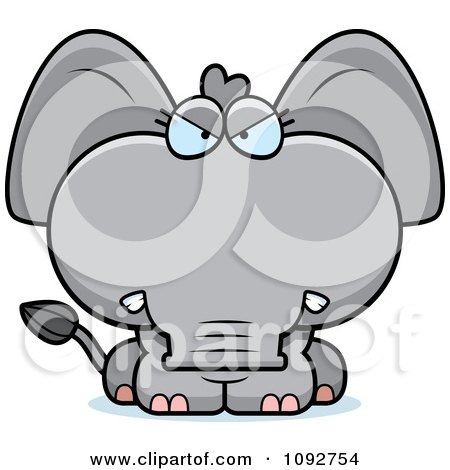 Clipart Mad Baby Elephant - Royalty Free Vector Illustration by Cory Thoman