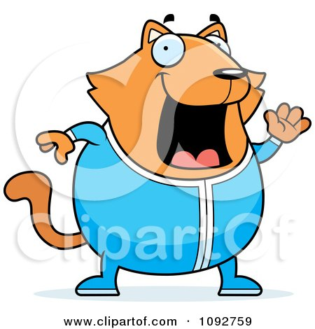 Clipart Chubby Orange Cat Waving In Pajamas - Royalty Free Vector Illustration by Cory Thoman
