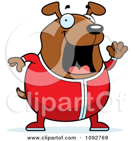Clipart Chubby Dog Waving In Pajamas - Royalty Free Vector Illustration by Cory Thoman