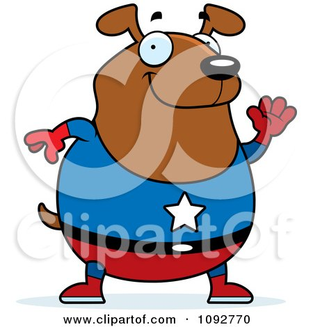 Clipart Chubby Super Dog Waving - Royalty Free Vector Illustration by Cory Thoman