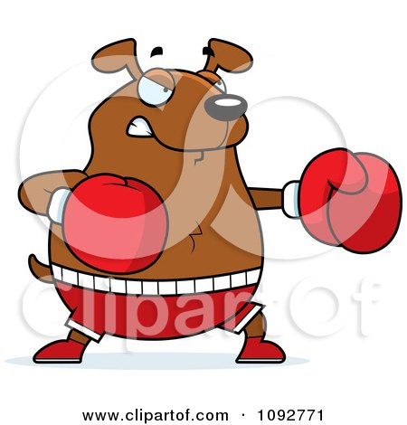Clipart Chubby Dog Boxing - Royalty Free Vector Illustration by Cory Thoman