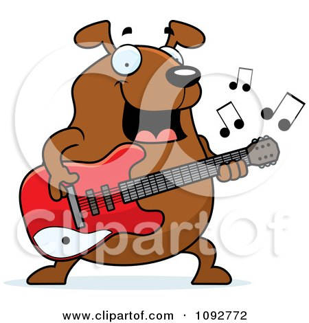 Clipart Chubby Dog Guitarist - Royalty Free Vector Illustration by Cory Thoman