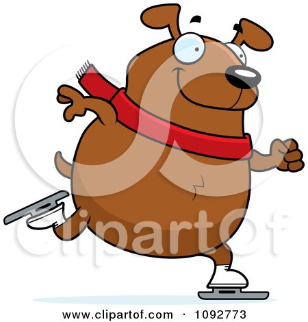 Clipart Chubby Dog Ice Skating - Royalty Free Vector Illustration by Cory Thoman