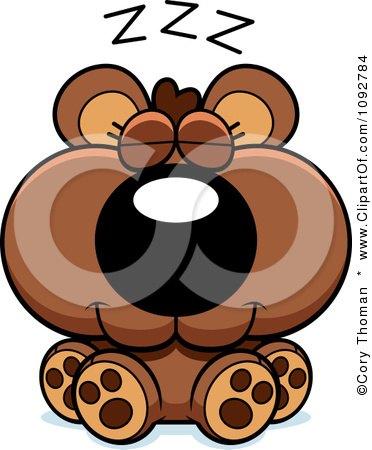 Clipart Cute Bear Cub Sleeping - Royalty Free Vector Illustration by Cory Thoman
