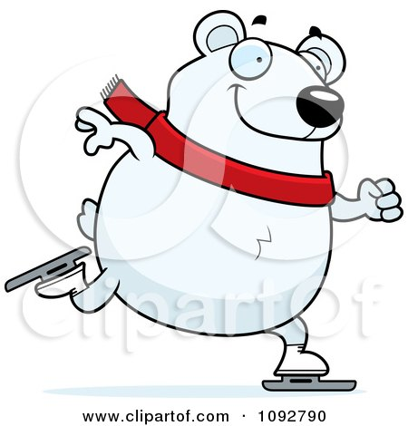 Clipart Chubby Polar Bear Ice Skating - Royalty Free Vector Illustration by Cory Thoman