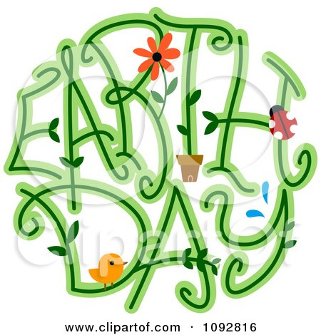 Earth Day Spelled With Vines A Bird Flower And Ladybug Posters, Art Prints