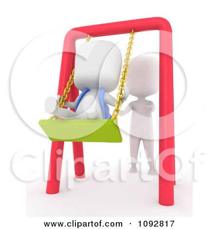 Clipart 3d Ivory Person Pushing A Kid On A Swing - Royalty Free CGI Illustration by BNP Design Studio