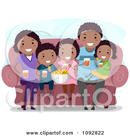 Clipart Happy Black Family Watching A Movie At Home And Eating Snacks - Royalty Free Vector Illustration by BNP Design Studio
