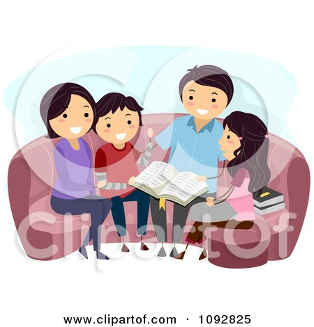 Clipart Happy Family Doing A Bible Study - Royalty Free Vector Illustration by BNP Design Studio
