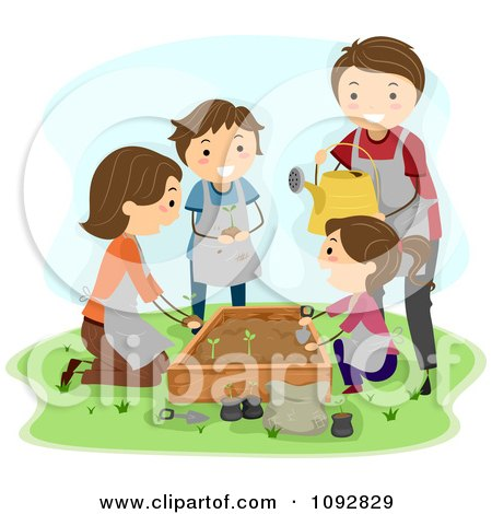Family Garden Clipart Clipart Happy Family Planting