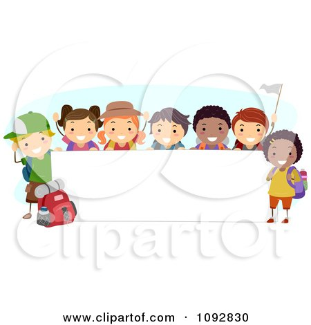 Happy Diverse Summer Camp Children By A Blank Banner Posters Art Prints
